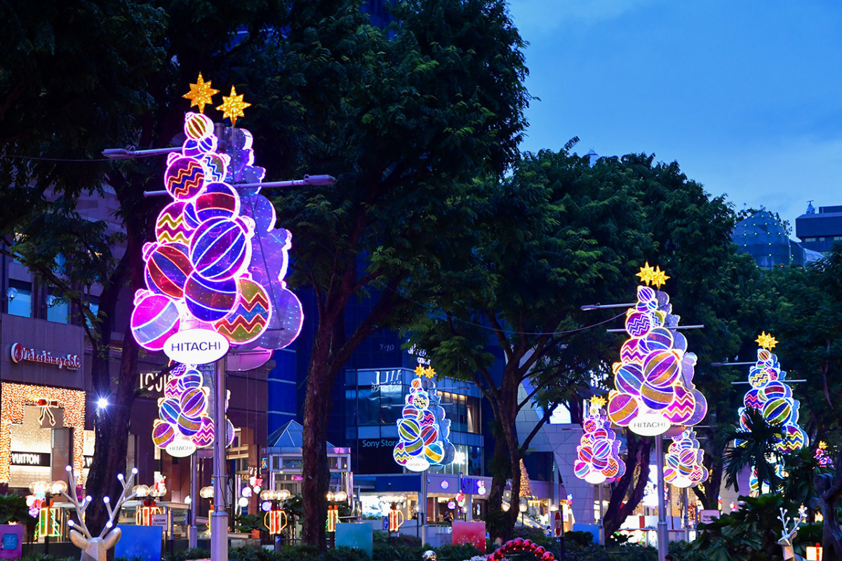 Neon, retro-modern inspired Christmas trees at Orchard Road Christmas Light-up 2019.