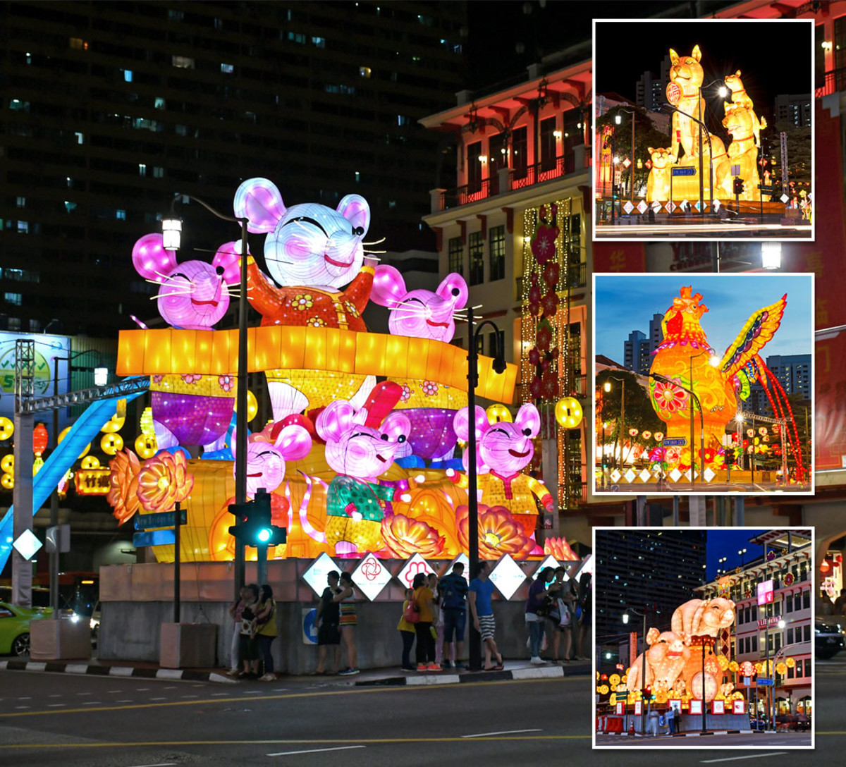 The incoming Chinese Zodiac animal for the New Year is always showcased at the Chinatown festive Light-Up. The main display in the above picture is that for Year of the Rat 2020.