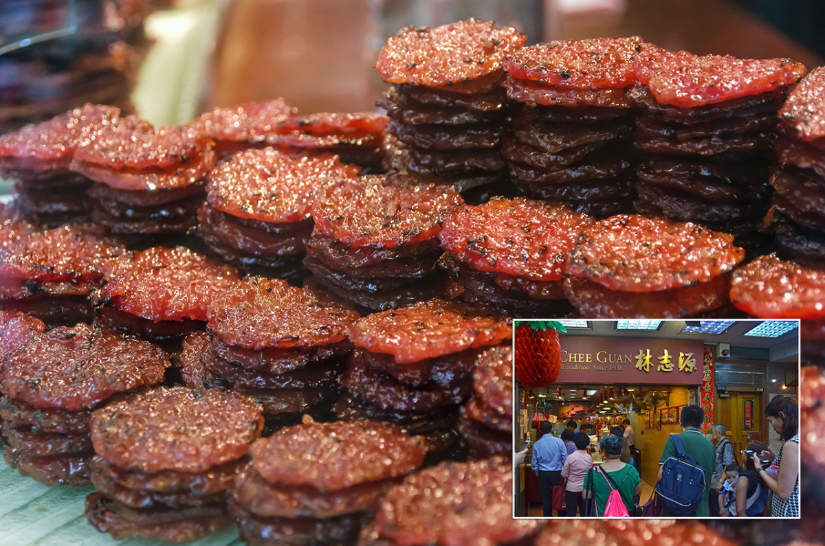 Bwa Kwa is the ever popular Southeast Asian Chinese snack of BBQ marinated pork jerky. Long queues often form outside popular stores during the festive season.
