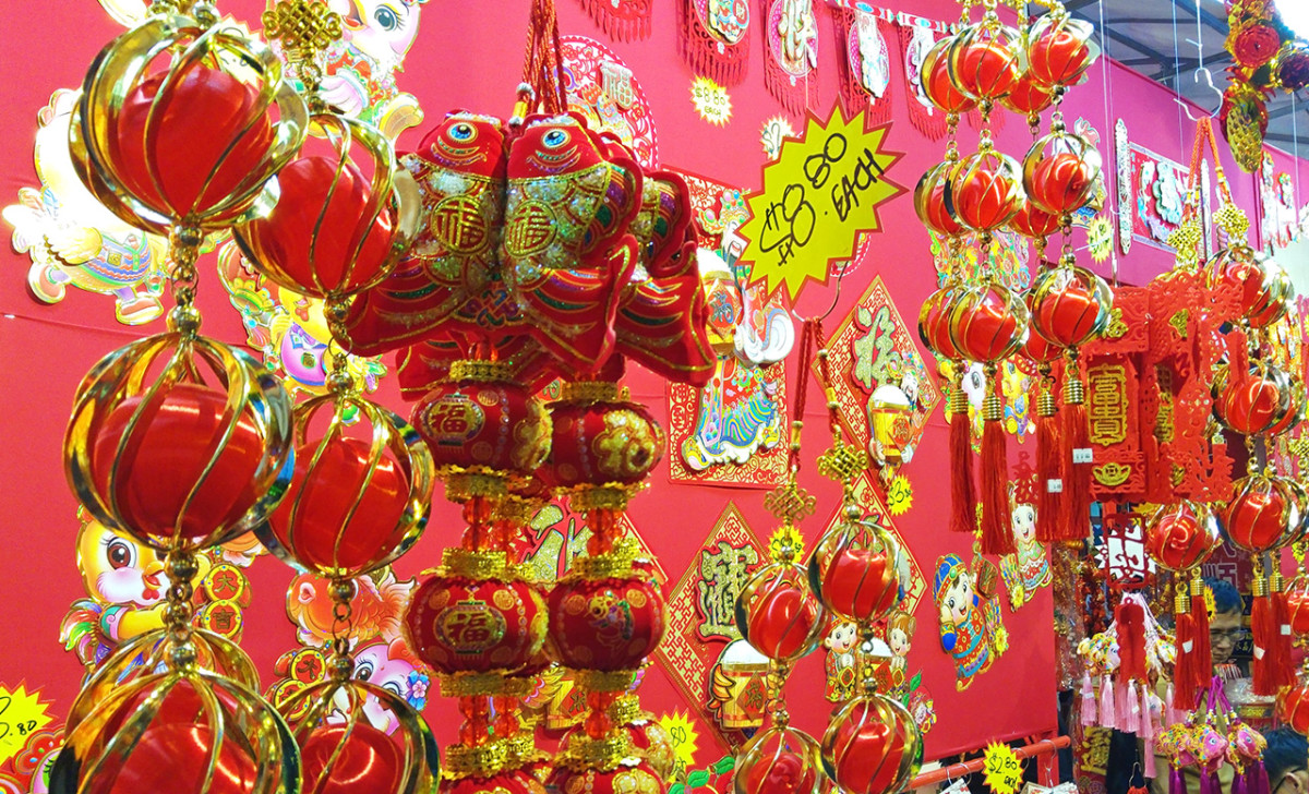 "All red and gold like the shops at Chinatown. For your information, many Chinese New Year decorations have ""8"" in their prices. The Hokkien pronunciation for 8 rhymes with Huat, which means windfall."
