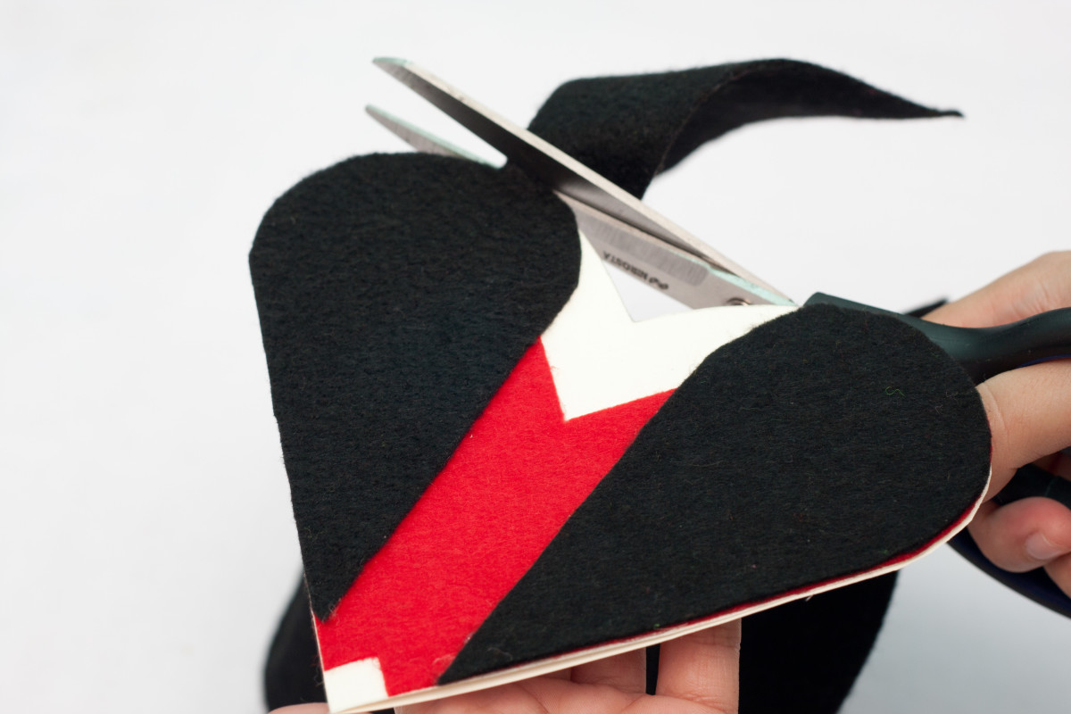 Trim any excess felt - use your heart shaped cardboard as a guide