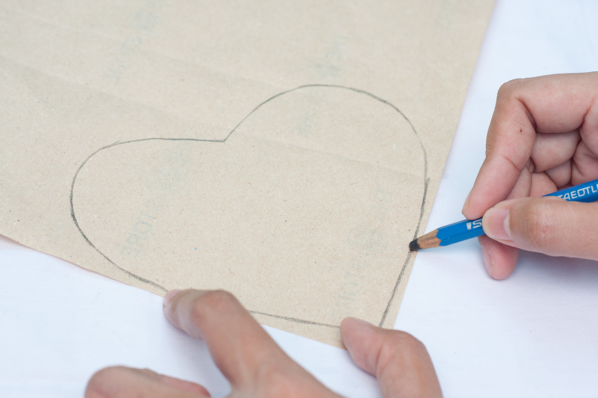 Draw a heart shape on your pattern paper