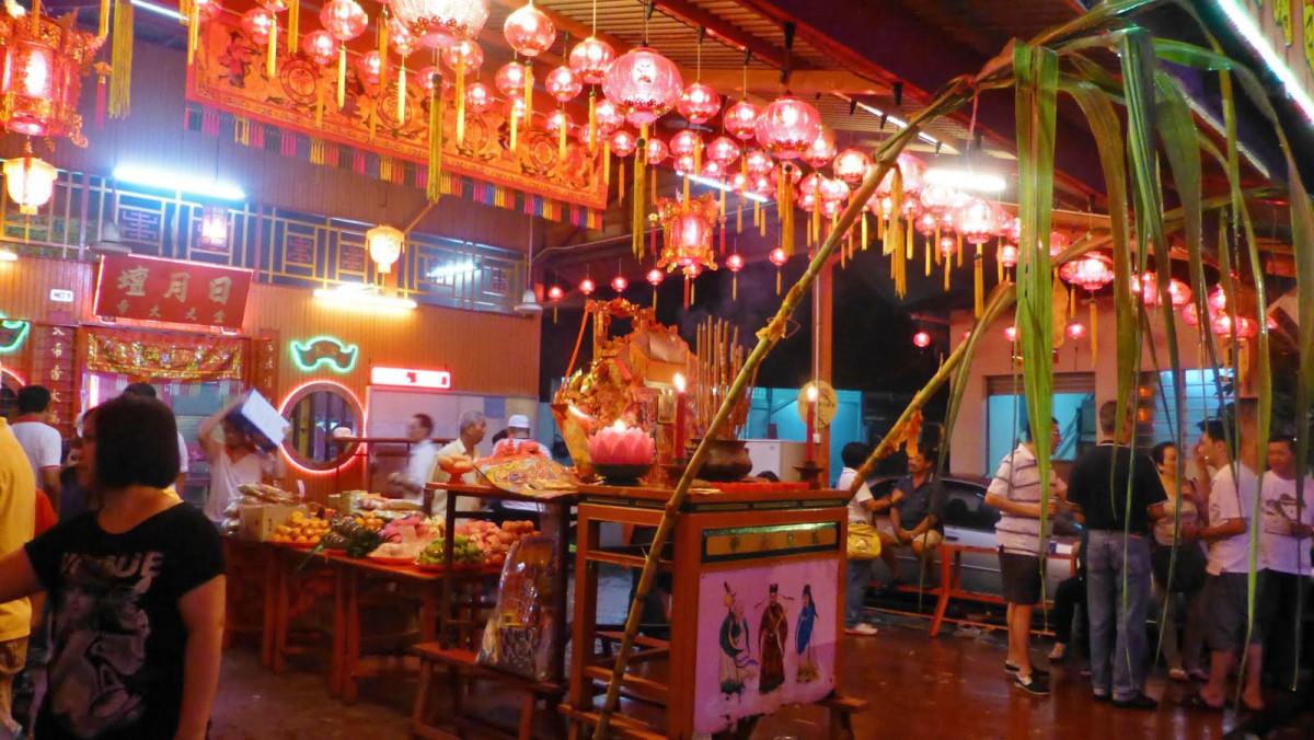 Celebrating the birthday of Tiangong, in Penang, Malaysia.