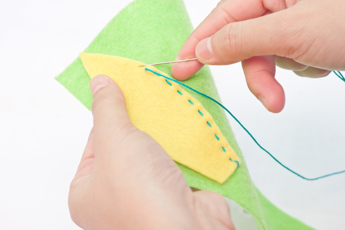 Step 5:  Sew the yellow ears onto a piece of green craft felt