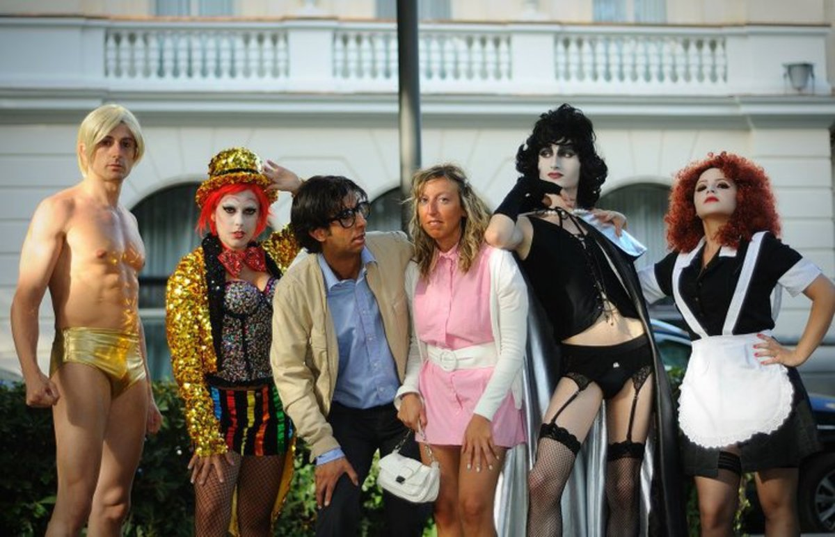 An example of a group costume with Rocky, Columbia, Brad, Janet, Dr. Frank-N-Furter, and Magenta.