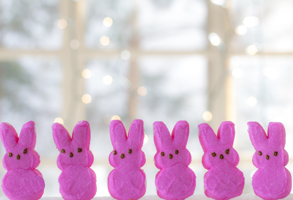 These are pink Marshmallow Peeps shaped like bunnies. They also come in other colors and shapes, like yellow chicks.