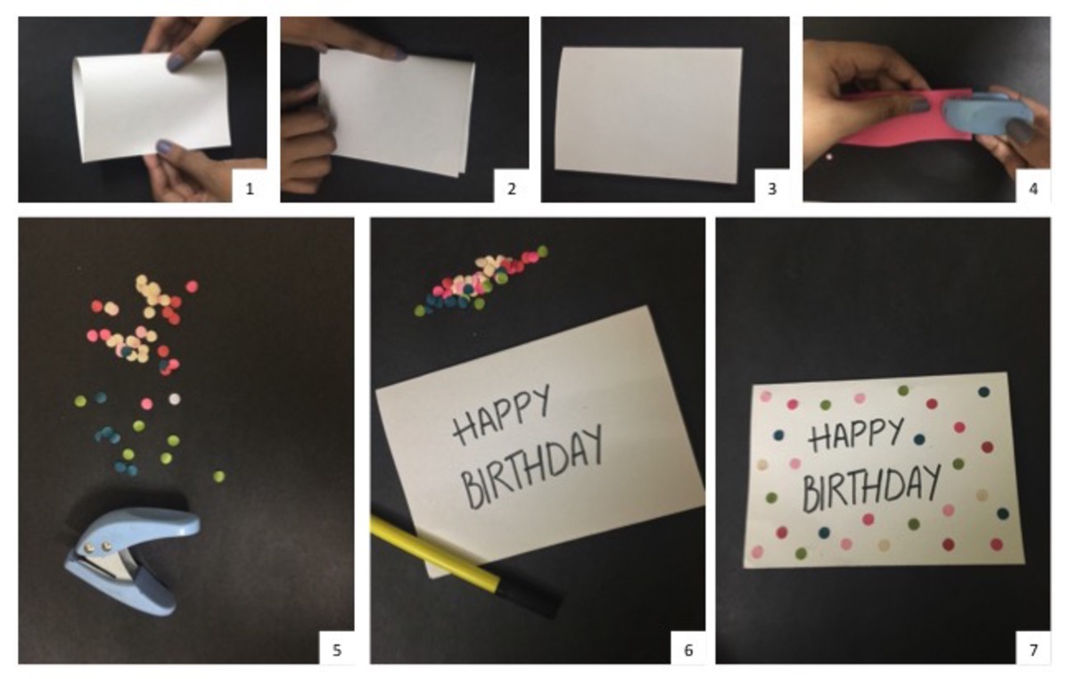 Instructions for Confetti Burst Birthday Greeting Card