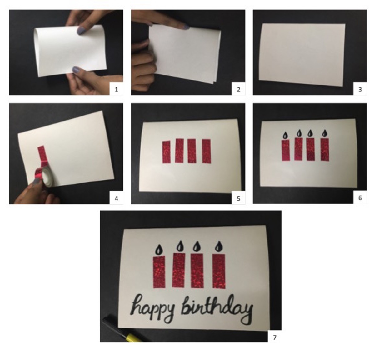 Instructions for Birthday Candles Greeting Card