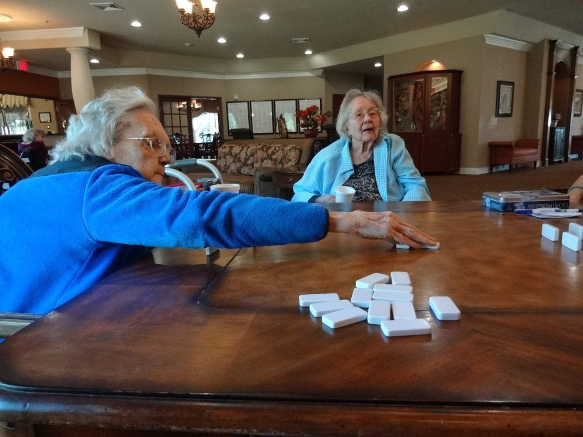 Seniors enjoy playing Dominoes, crossword puzzles, card games, balloon volleyball and more.