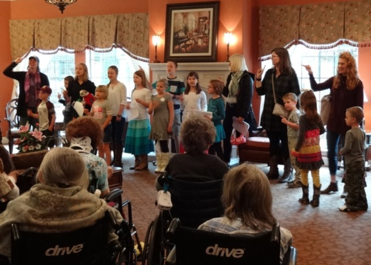 Here the home-schooled children pay a visit to sing for the seniors.