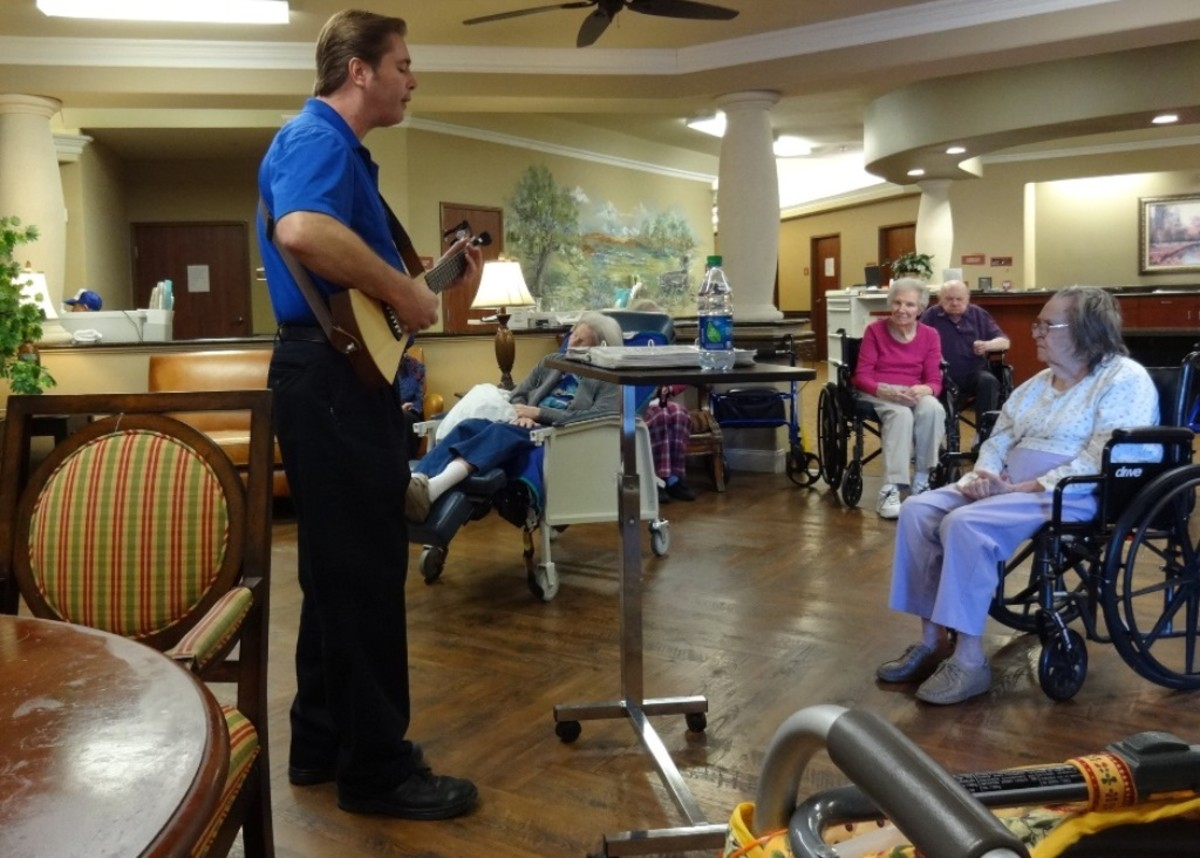 Chris Lemoine visits the nursing facility every week to sing for the residents.