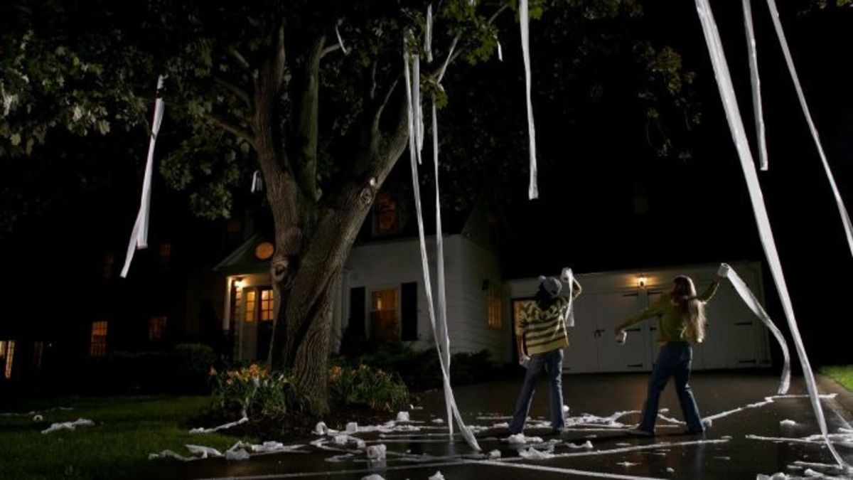 Some Halloween pranks like tossing toilet paper in trees are relatively harmless