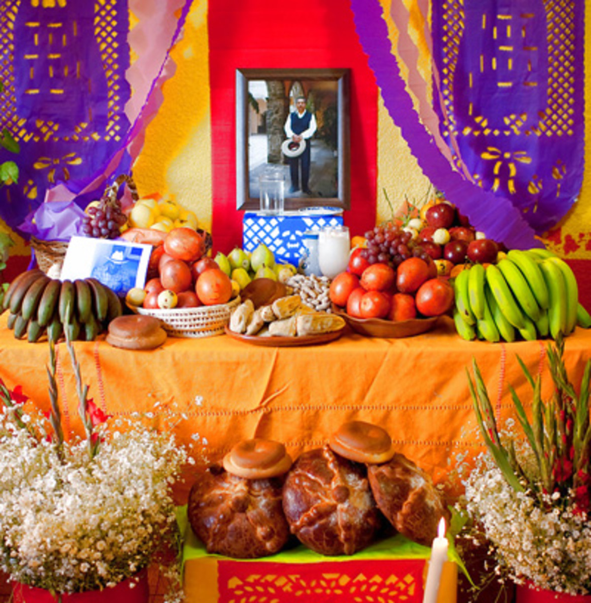 Day of the Dead altars are elaborate creations designed to encourage a friendly visit from the deceased soul of a loved one.