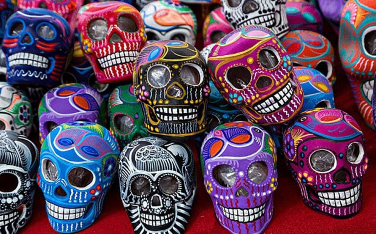 Mexican Day of the Dead celebrations feature colorful skulls in many shapes and sizes.