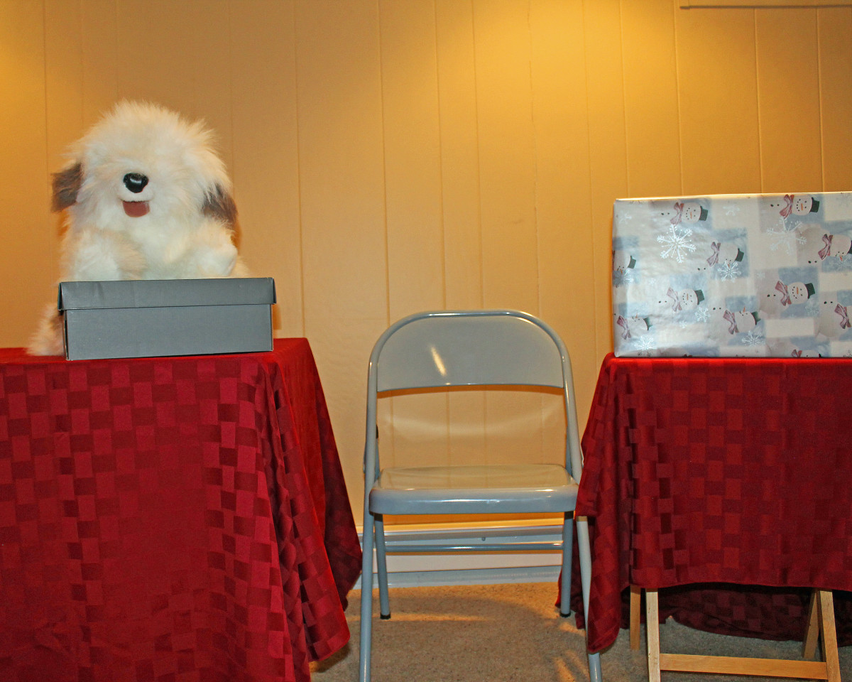For a one-person puppet show, place your chair in the middle. The props can rest on the table to your left. The wrapped box to your right can hide the elf until you are ready to have him pop up.