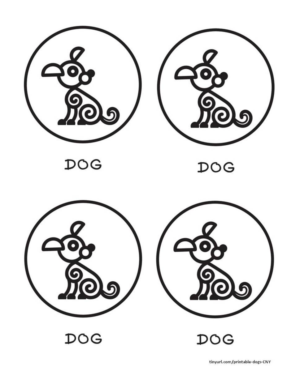 Curlicue dog in a circle, 4 to a page