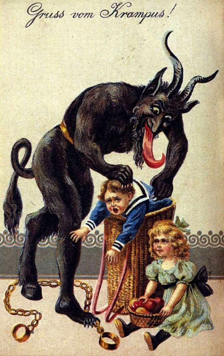 """Greetings from Krampus"" - A typical Krampus Card from the 1900s"