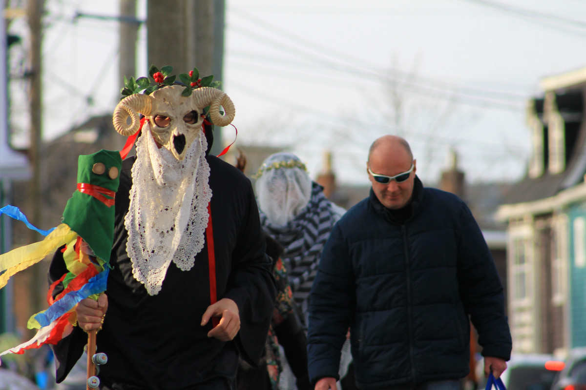 Mummers en route to the parade, St. John's, NL