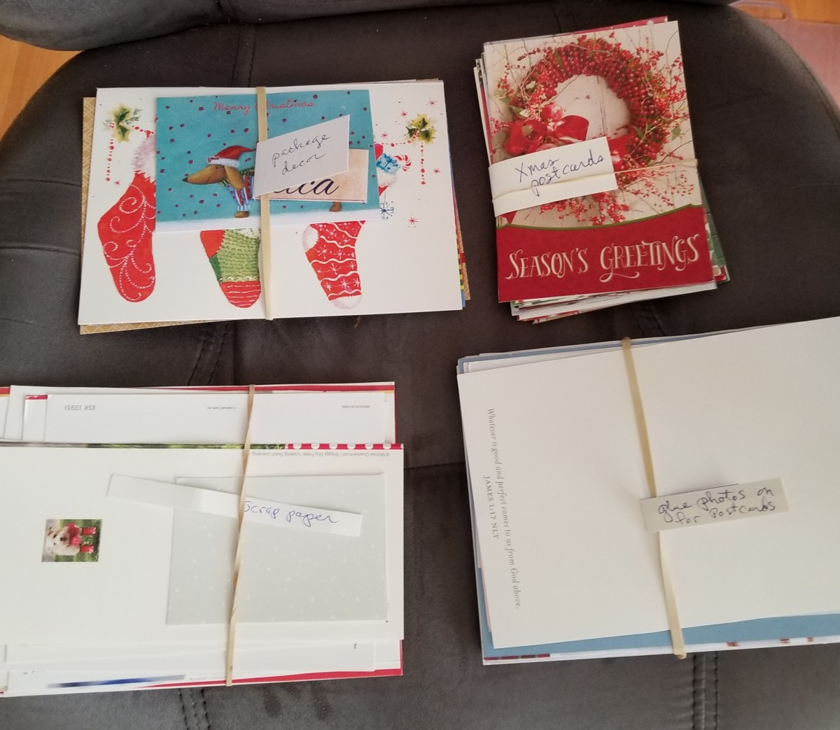 I save the ones with plain backs and glue my own photos on the side where the verse and signature is. The plain back becomes the part of a postcard where you write the address and message. PRESTO! Customized postcards to use throughout the year.