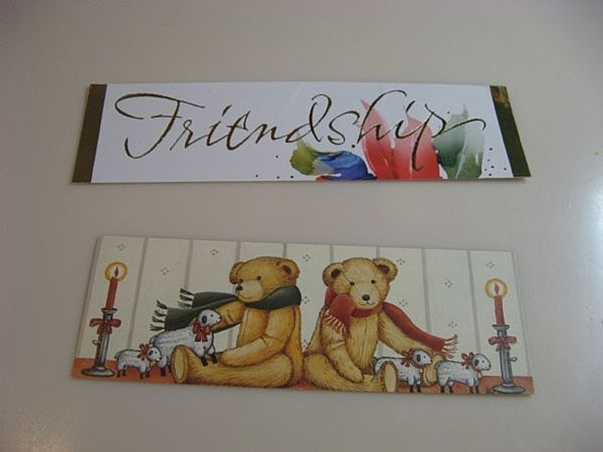 Some card designs lend themselves to vertical bookmarks and others to horizontal like the ones in this photo.