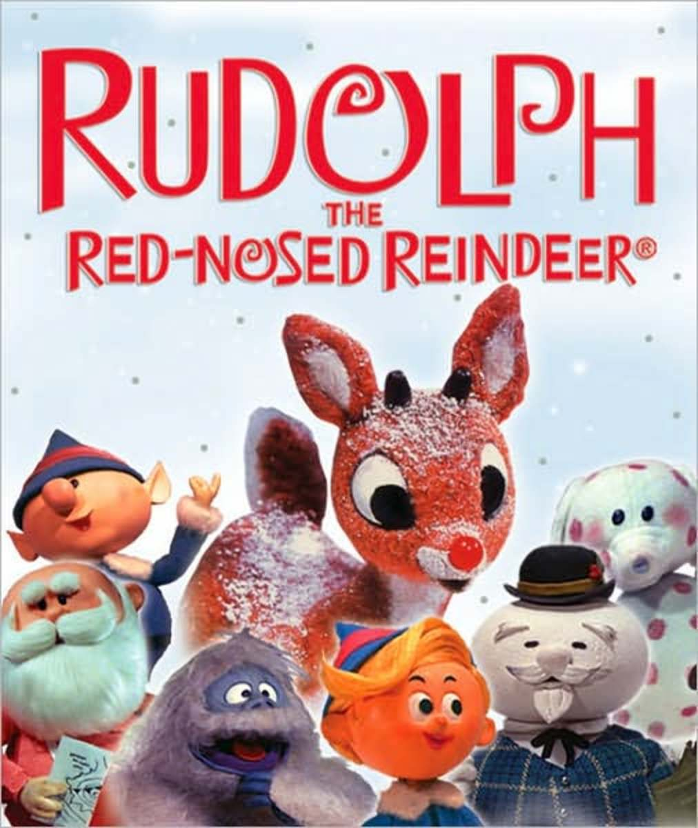 "This is the cover of the movie ""Rudolf the Red-Nosed Reindeer."""