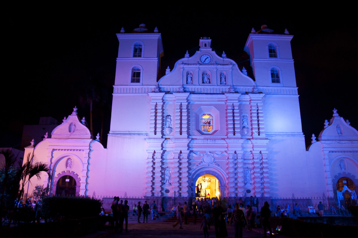 Cathedral of Saint Michael Archangel, Tegucigalpa.  Easter Sunday after dark.