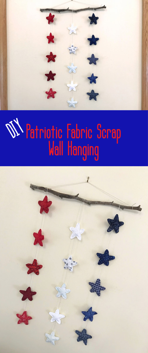 If you love the stars and stripes, you'll love this easy to make fabric scrap rustic star wall hanging.