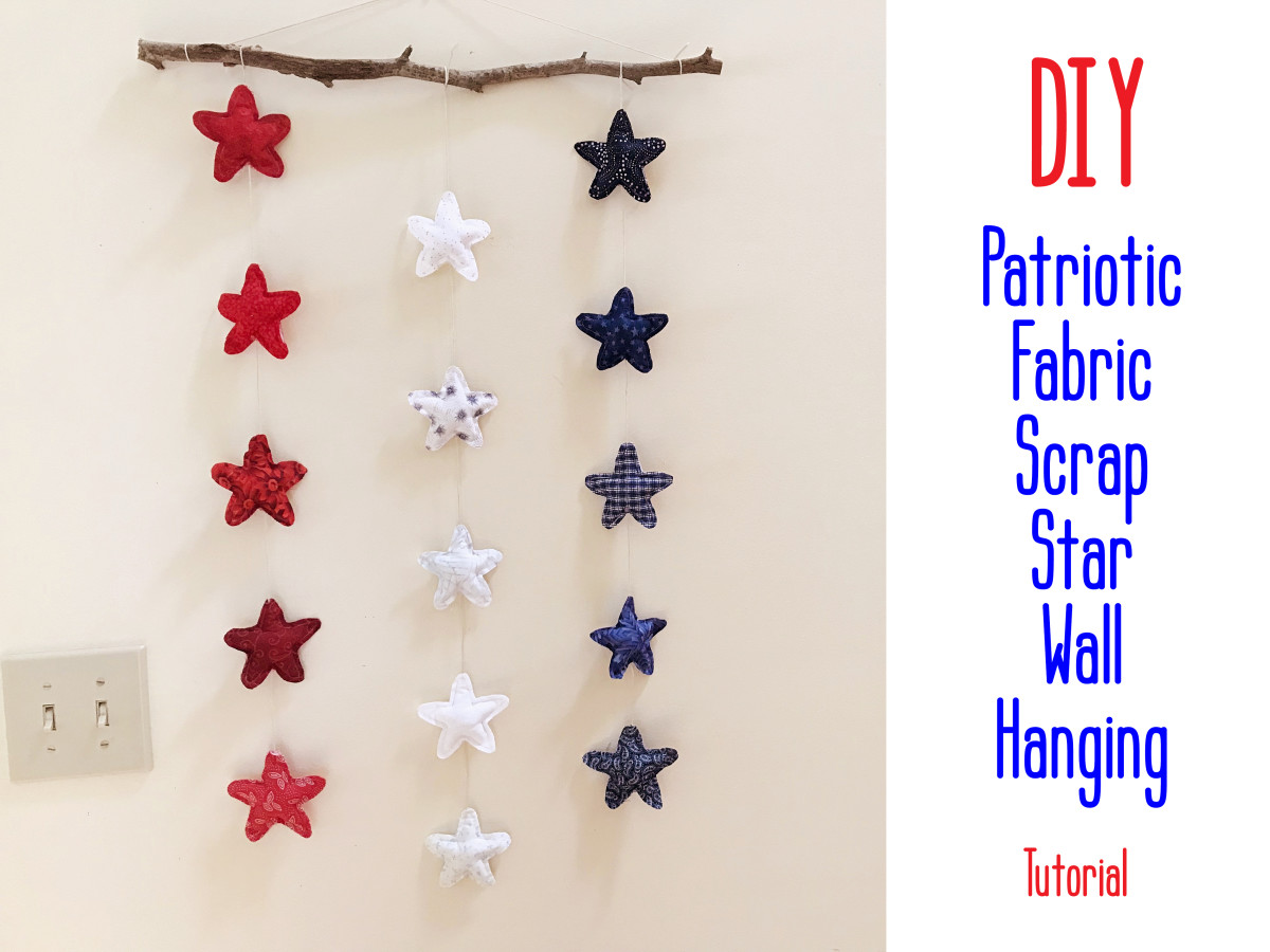 DIY patriotic fabric scrap wall hanging perfect for the fourth of July.