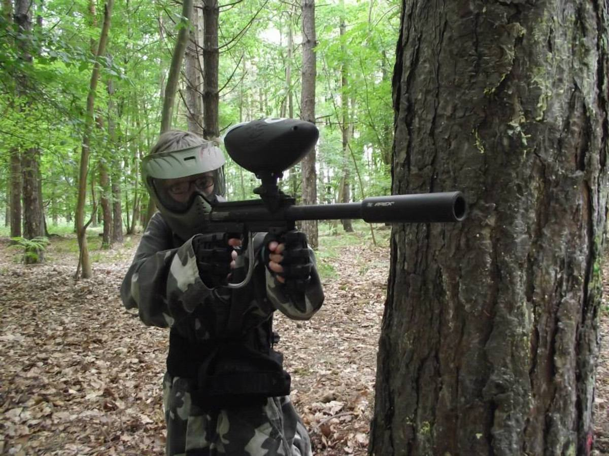 This is a picture of my older son at a paintballing party!