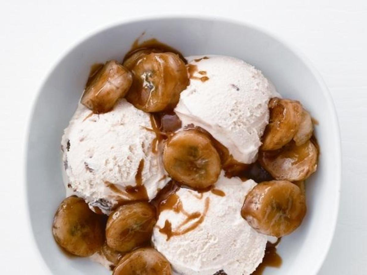 Homemade caramelized banana buttermilk rum ice cream.