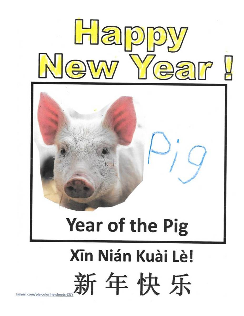 Printable Coloring Pages for Year of the Pig: Kid Crafts for Chinese