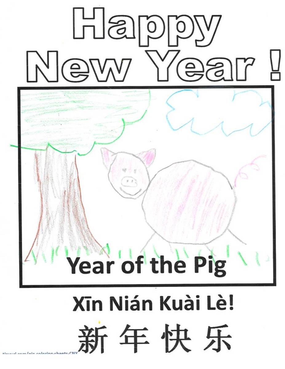 Here is a sample using the template above. A child has drawn a pig using colored pencils.