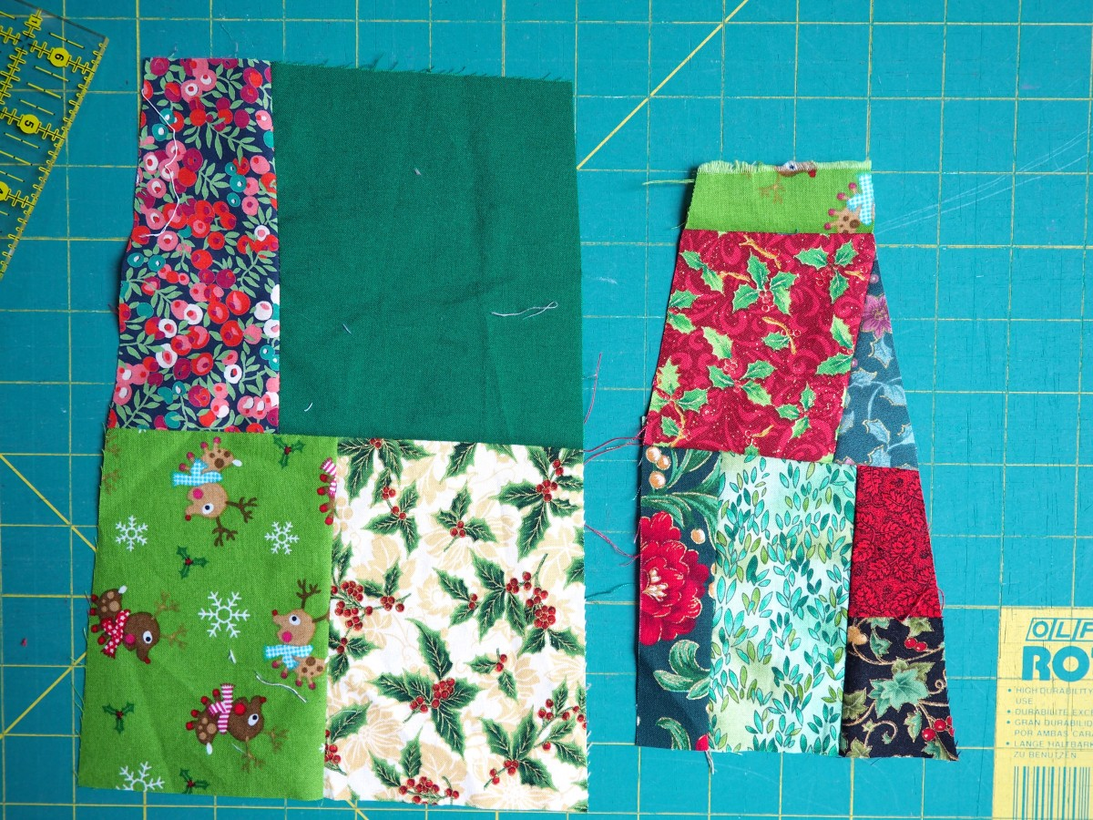 Fabric scraps sewn together and ready for cutting.