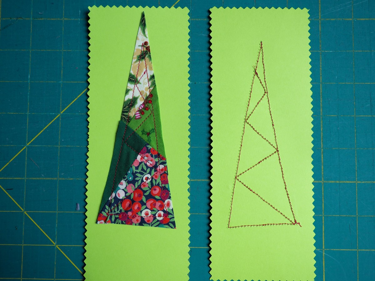 The front and back of fabric sewn on the paper.