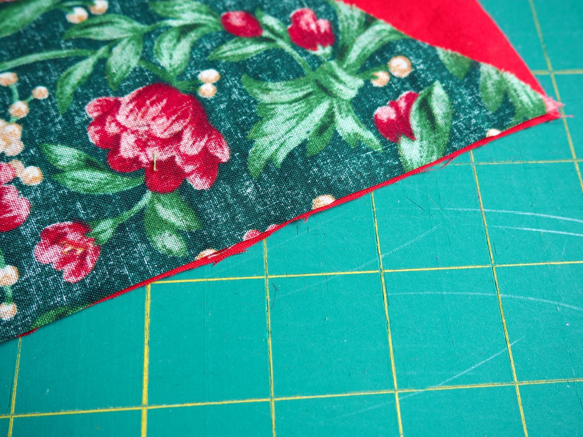 Take 2 individual pieces of fabric and pair them up, right sides together.