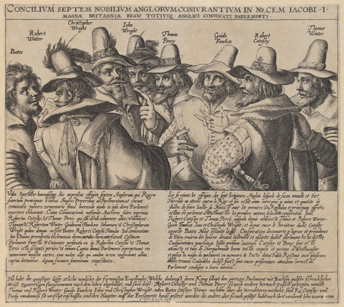 An engraving of the gunpowder plot conspirators in the National Portrait Gallery, London Creative Commons Licence