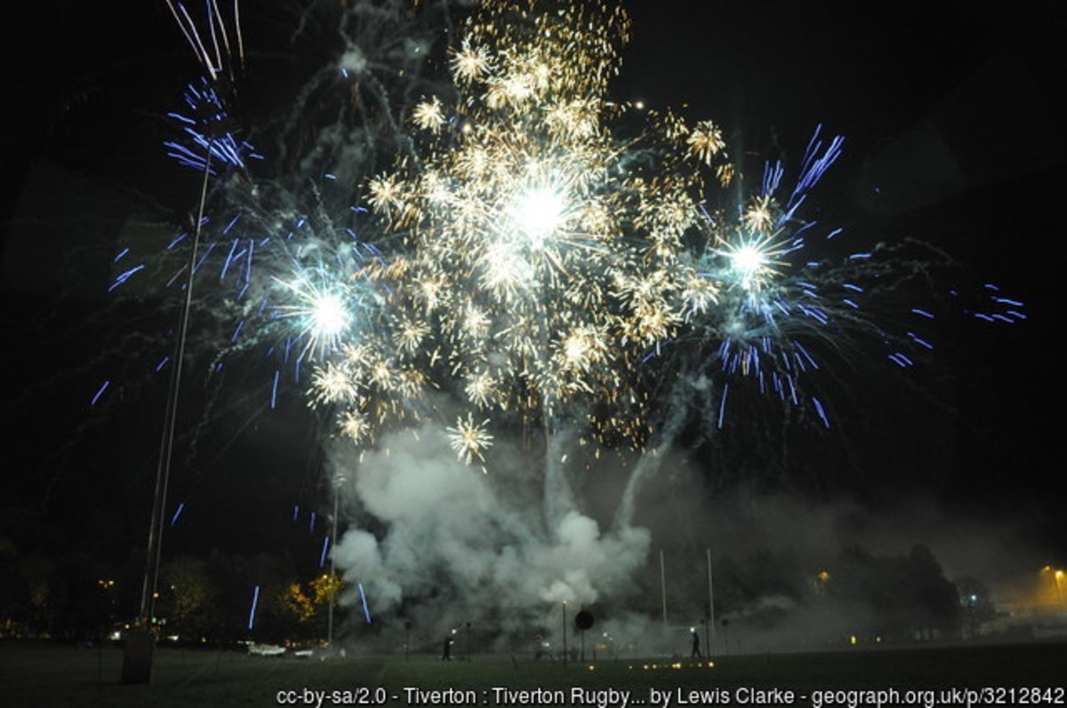 5 November firework display at Tiverton Rugby Club