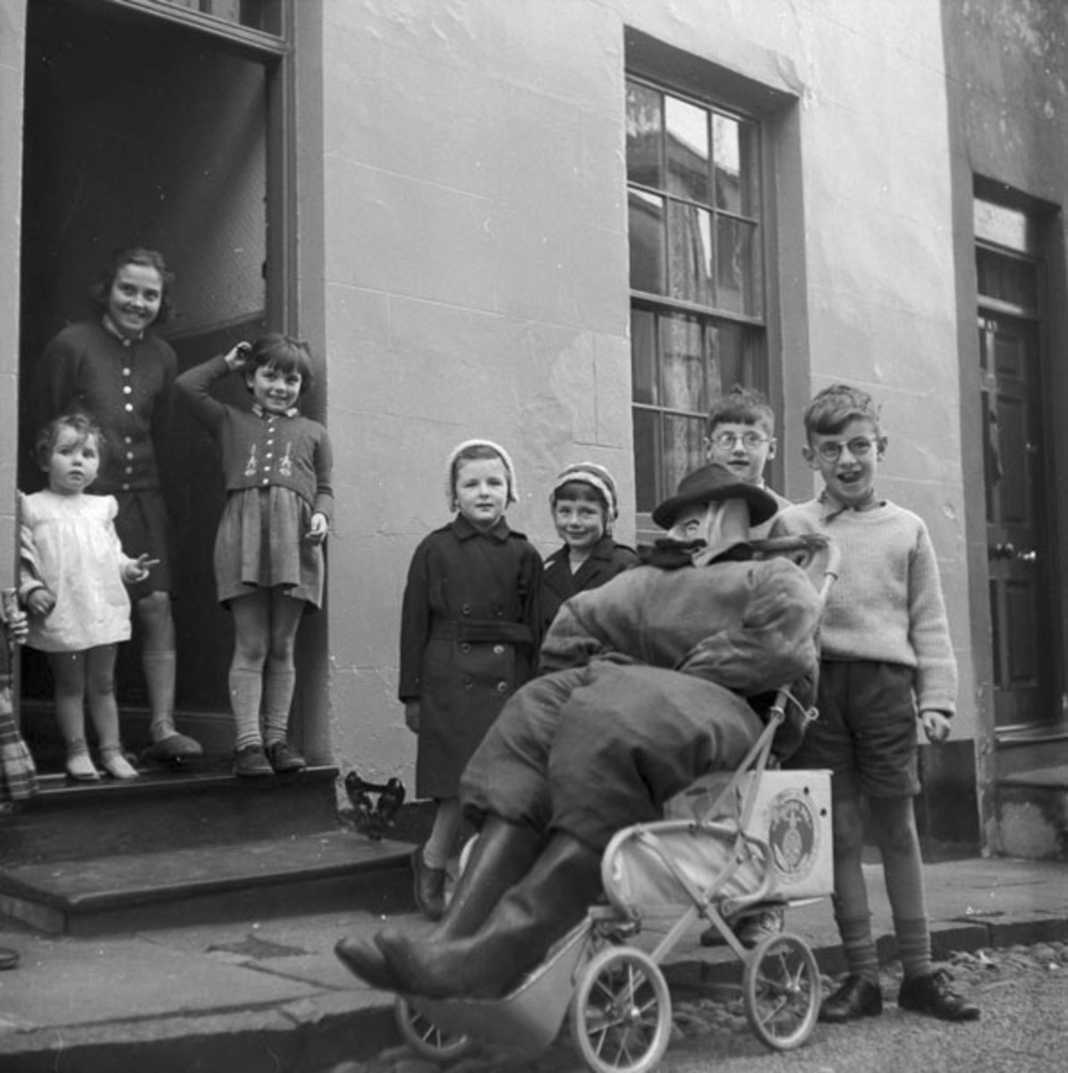 1960 in Wales. Children with an effigy of Guy Fawkes.