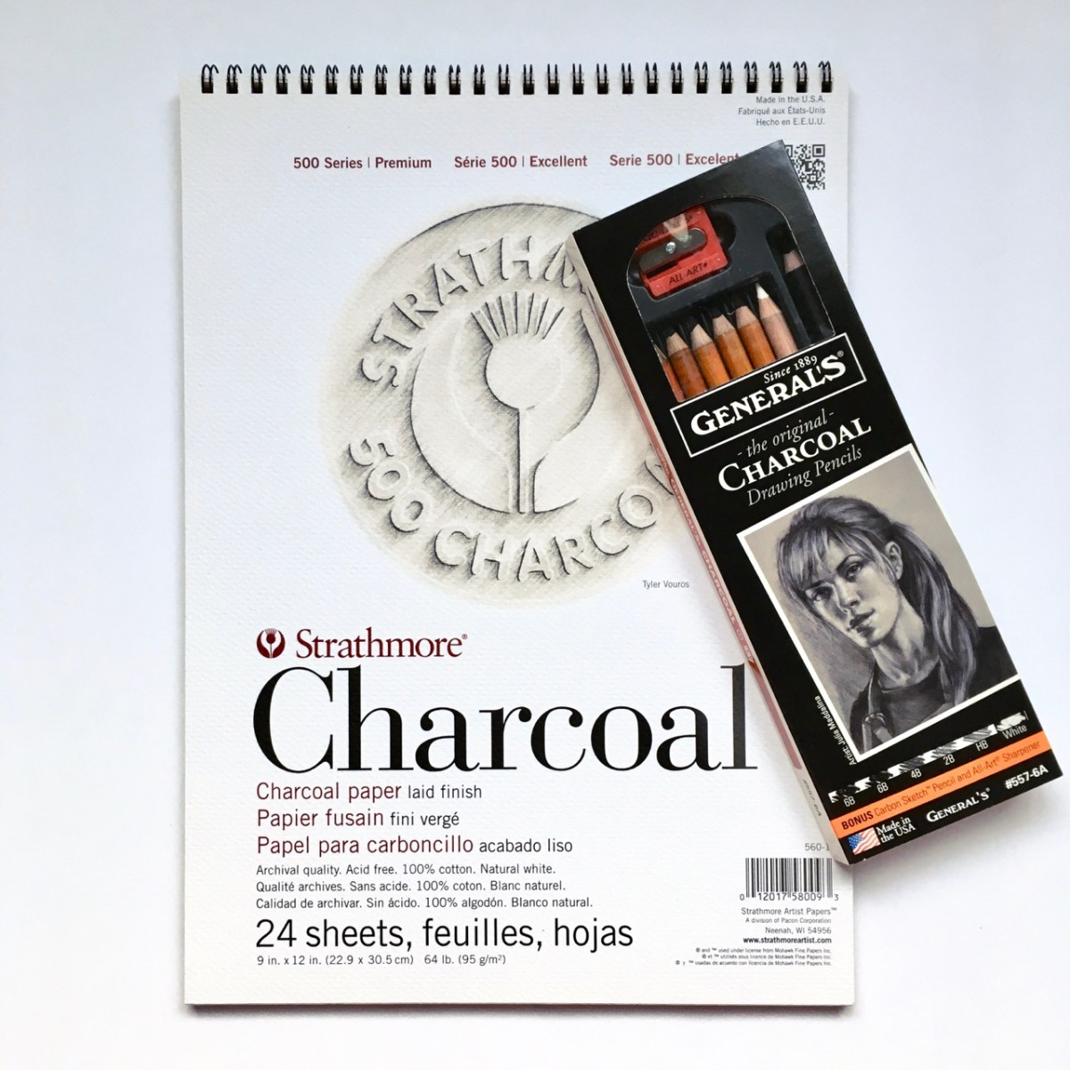 Charcoal Paper Pad and Charcoal Drawing Pencil Set