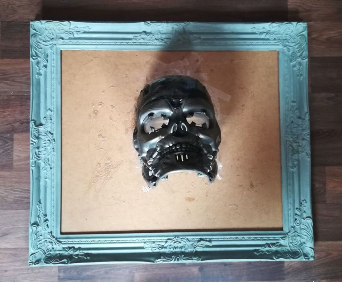 In-process photo of my frame-mounted skull project