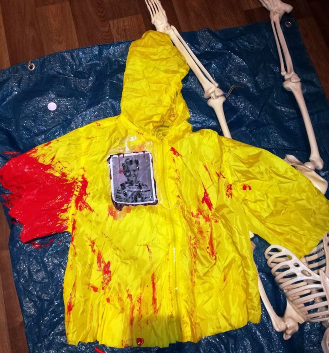 Blood Soaked Raincoat for Halloween