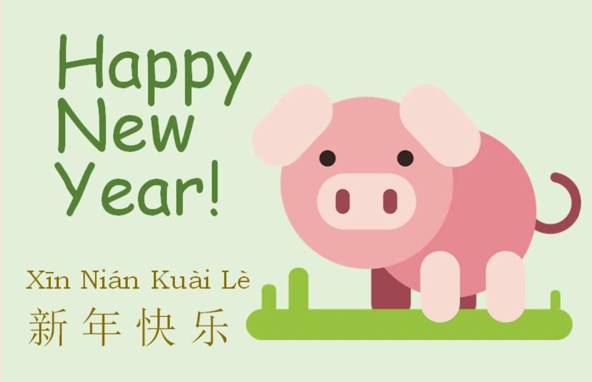 Pink Pig on Green Background