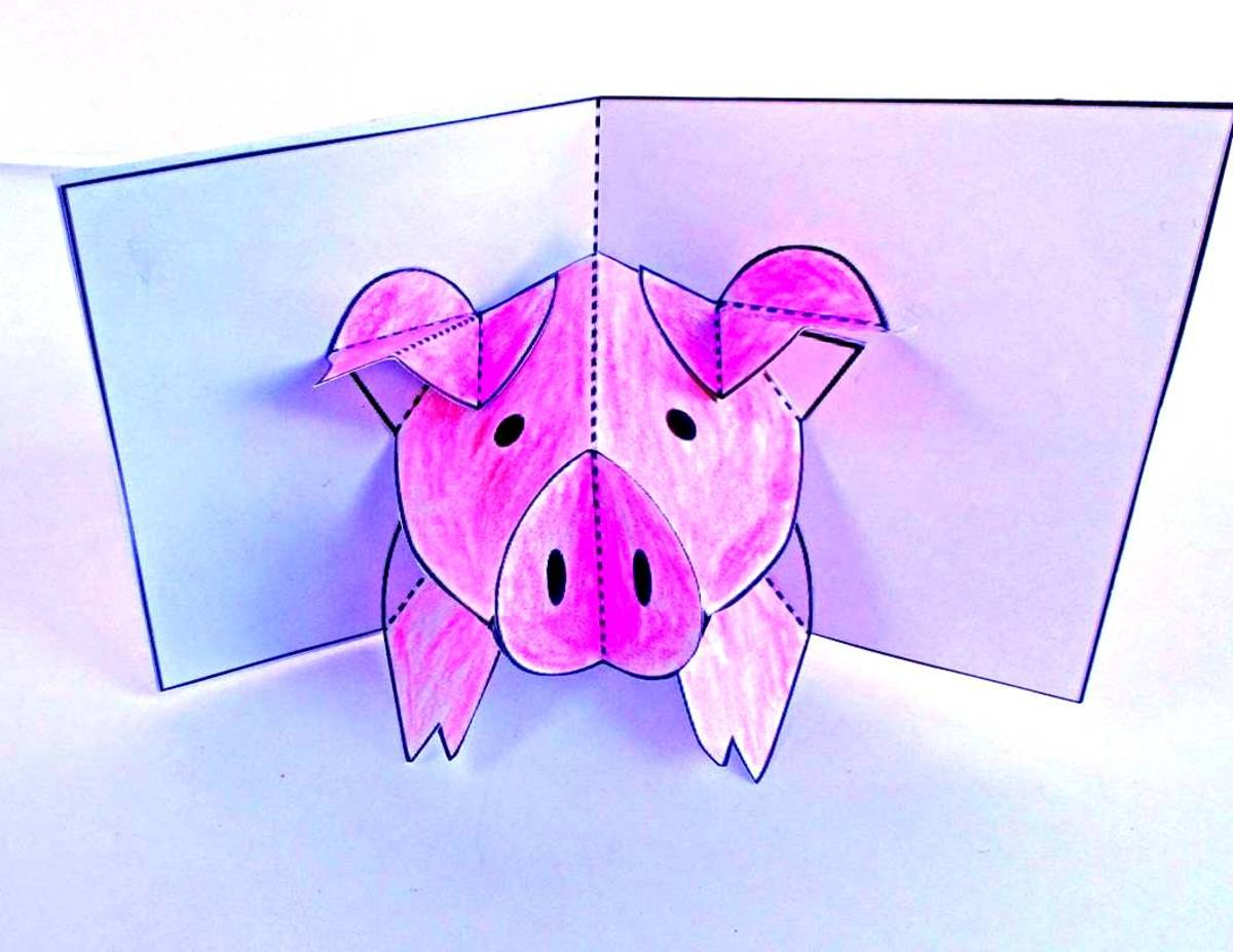 Here is a sample of what Robert Sabuda's pop-up pig looks like when it is assembled.