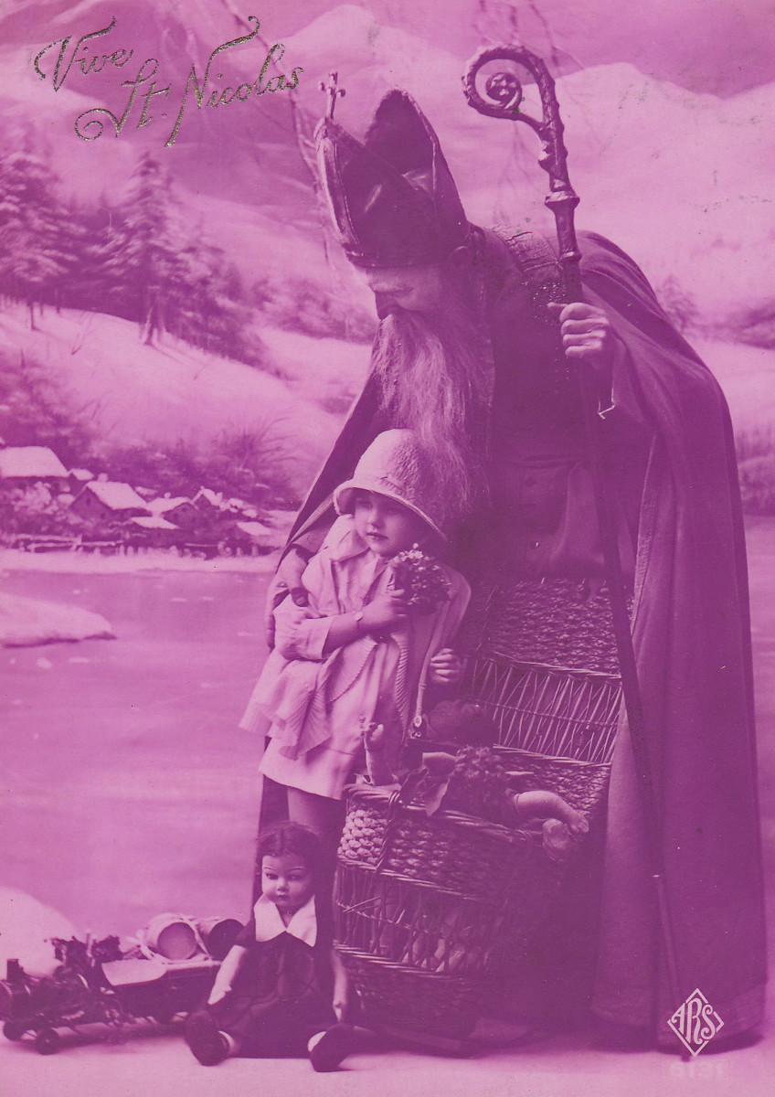 This French image from the 1920s portrays St. Nicholas as a bringer of gifts and protector of small children.