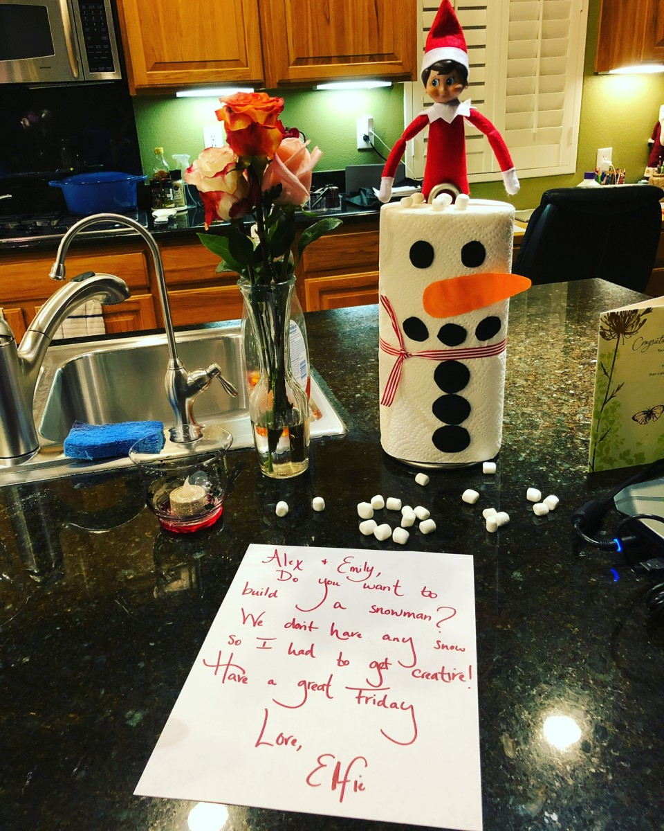 This is another really easy idea. I used a paper towel roll and some colored paper for the snowman, plus a ribbon that I had in the bin of wrapping paper supplies. Add a cute note and some mini marshmallows and you're done!