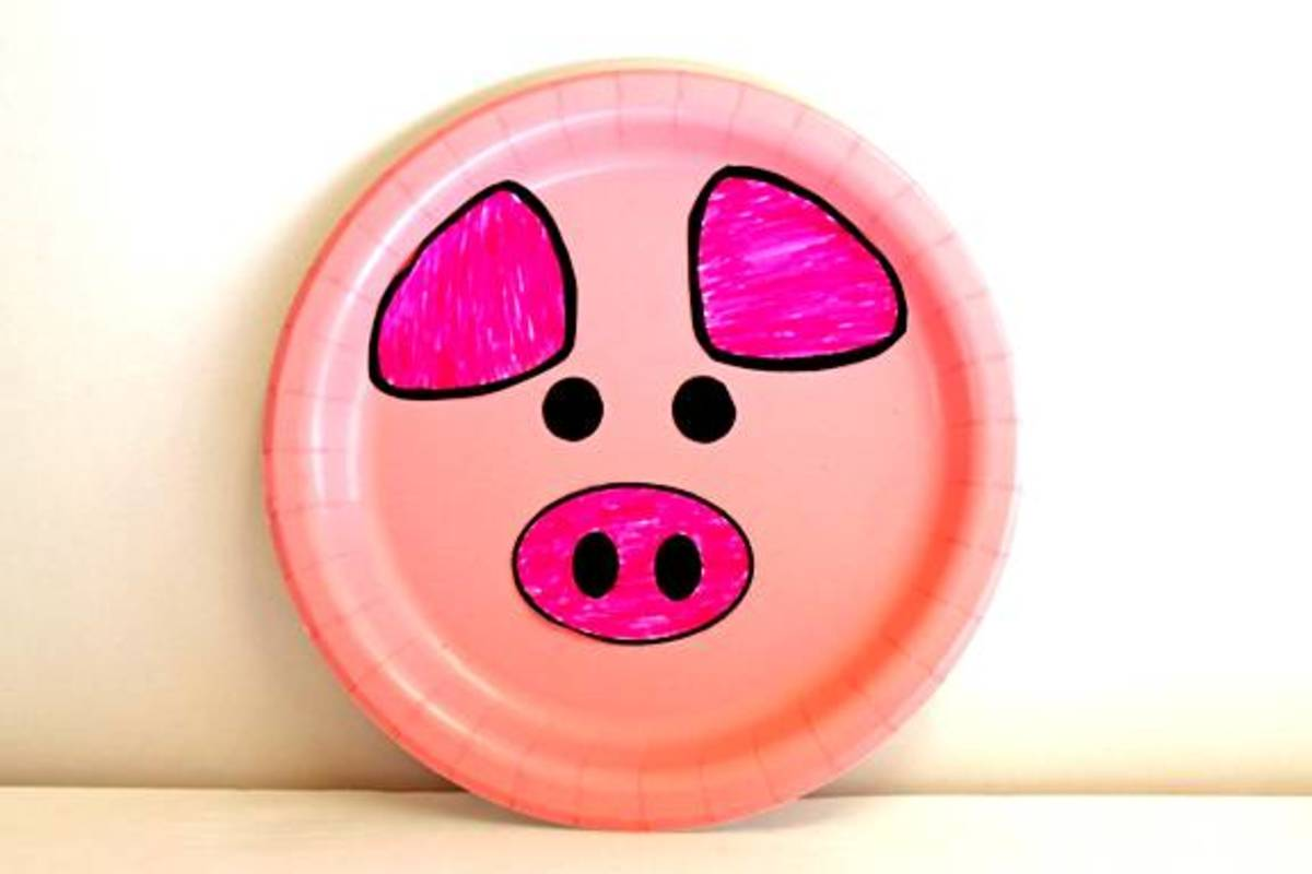 Sample pig made with paper plate