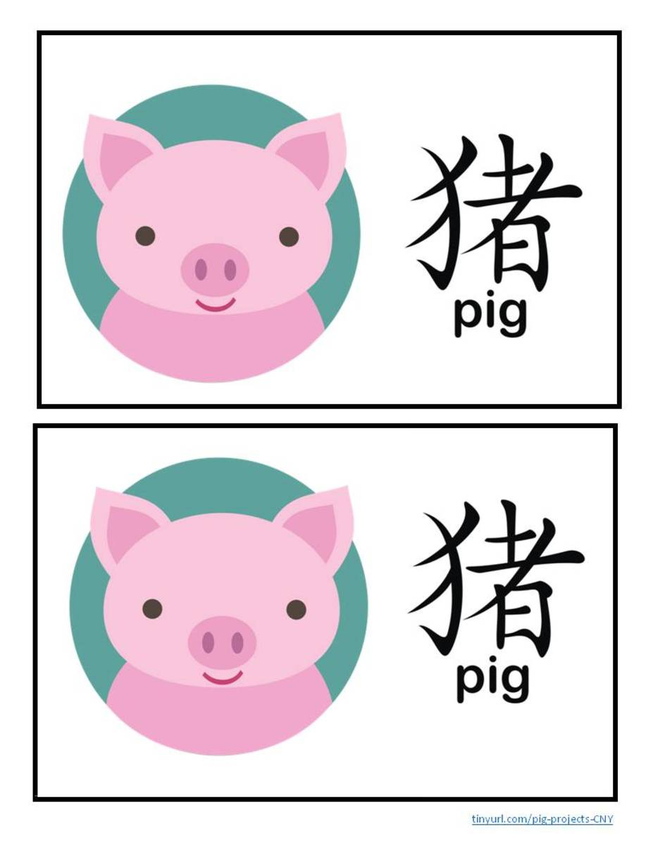 Picture of pig with turquoise background, along with Chinese character