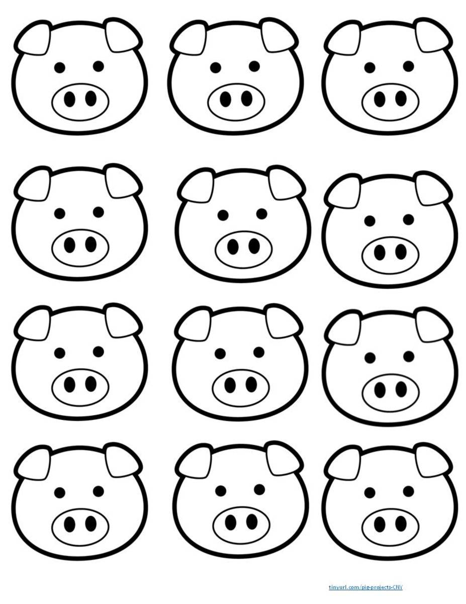 Small pig faces to use as topper for bookmarks or any other craft