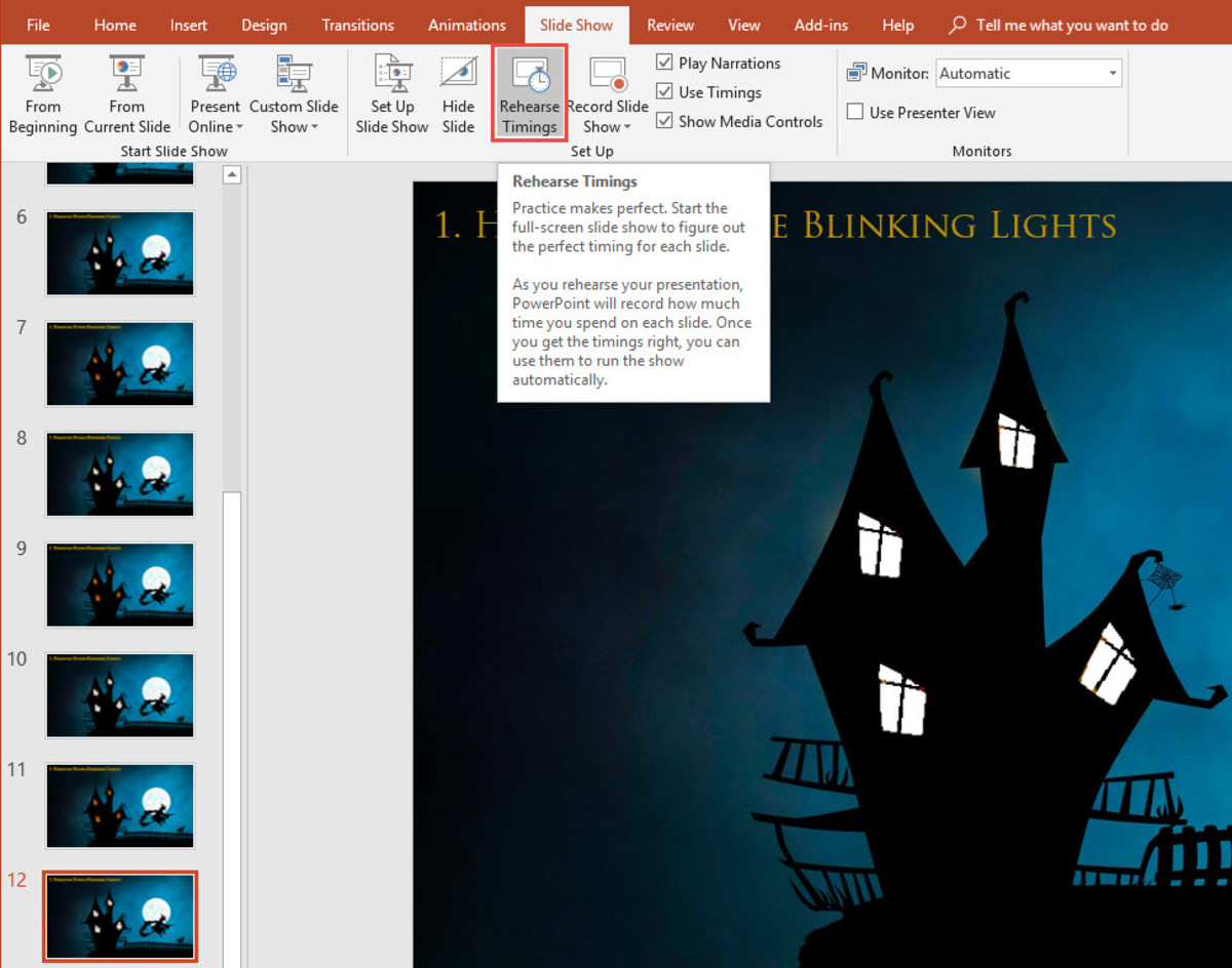 PowerPoint Slide Show Rehearse Timings