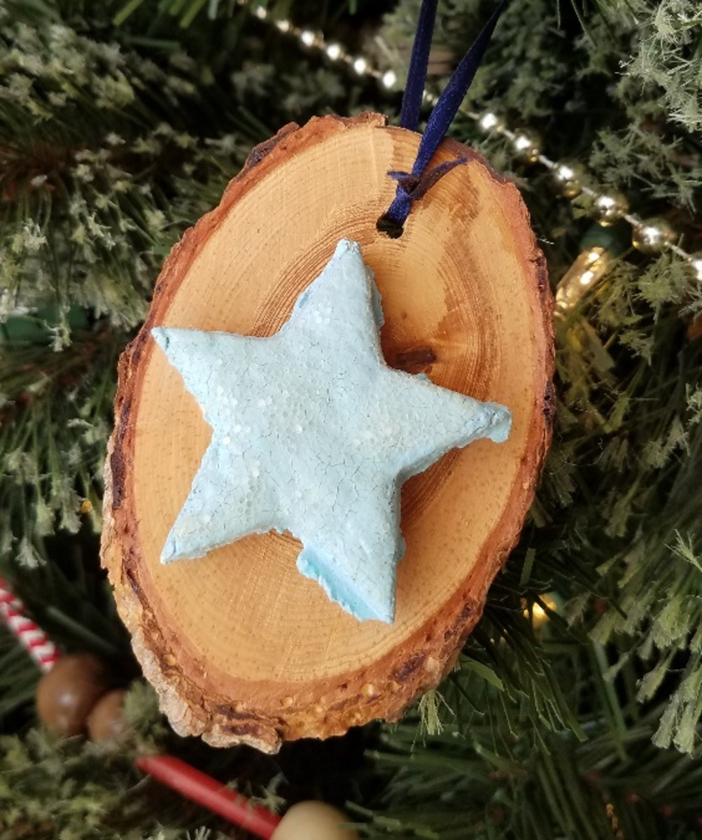 Log cut-out ornaments have a rustic charm.